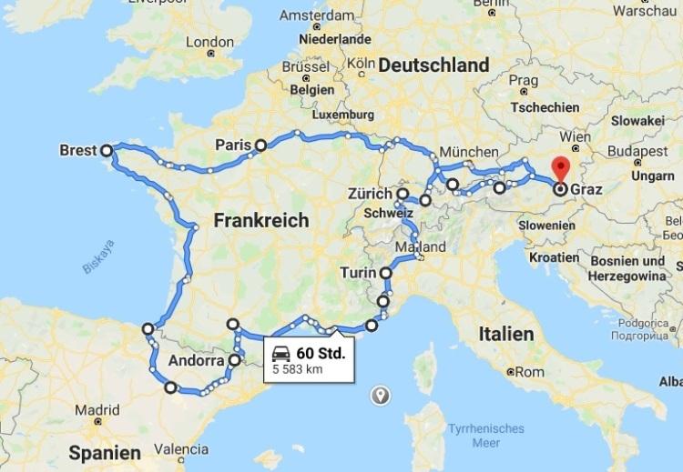 Reiseroute erdnussfrosch.com