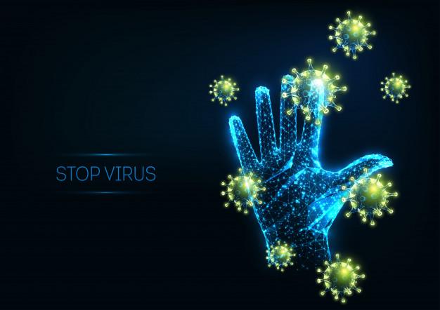 futuristisches-stoppvirus-mit-leuchtenden-polygonalen-viruszellen-und-erhobener-menschlicher-hand_67515-860